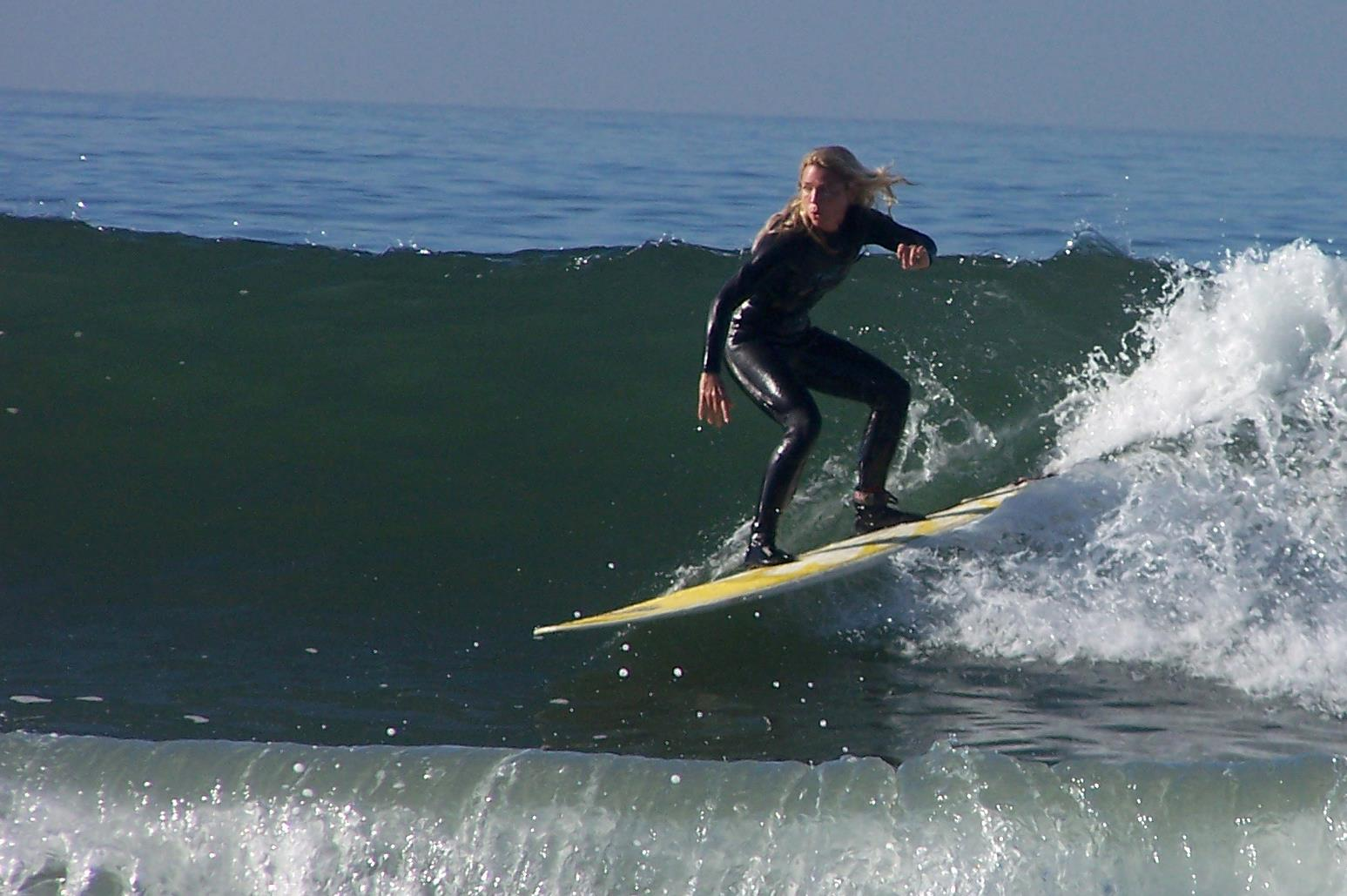 Jennifer Faith surfs with Jesus.
